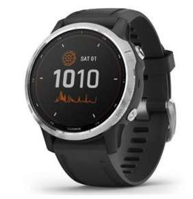 GARMIN GPS chytré hodinky fenix6S Solar, Silver/Black Band