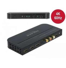 Delock Přepínač HDMI, 3 x vstupní porty HDMI na 1 x výstupní port HDMI, 4K 60 Hz, s extraktorem zvuku