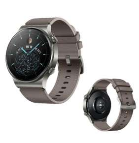 Huawei Watch GT 2 Pro, 46,7 mm, šedá / chytré hodinky, kožený řemínek, šedohnědá