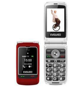 """EVOLVEO EasyPhone FG, vyklápěcí mobilní telefon 2,8"""" pro seniory s nabíjecím stojánkem (červená barva)"""
