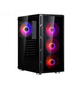 SPIRE skříň VISION 7025 RGB + 4x 12CM RGB fans, Midi Tower, gaming, bez zdroje, Black