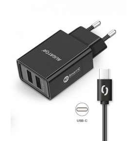 ALIGATOR Chytrá síťová nabíječka 2,4A, 2xUSB, smart IC, černá, USB-C kabel