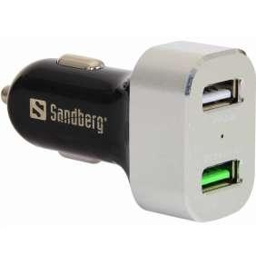 Sandberg nabíječka do auta, 1x QC 3.0 + 1x USB 2.4 A, černo-bílá