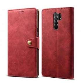 Lenuo Leather flipové pouzdro pro Xiaomi Redmi 9C, červená
