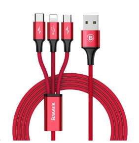 Baseus Rapid Series 3-in-1 Cable Micro + Lightning + Type-C 3A 1.2M Red