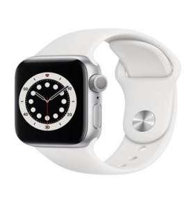 Apple Watch Series 6 GPS, 44mm stříbrné hliníkové pouzdro + bílý sport řemínek