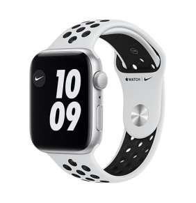 Apple Watch Nike SE GPS, 44mm Silver Aluminium Case with Pure Platinum/Black Nike Sport Band - Regular