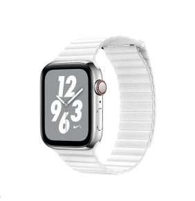 COTEetCI kožený magnetický řemínek Loop Band pro Apple Watch 42 / 44mm bílý