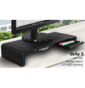 EVOLVEO deXy 3 HDD, podstavec pro monitor s HDD rámečkem,2x USB, USB-C