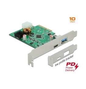 Delock Karta PCI Express x4 na 1 x externí USB Type-C™ samice s funkcí PD + 1 x externí USB Typu-A samice SuperSpeed USB