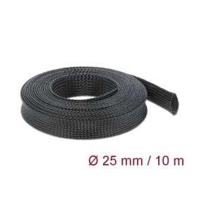 Delock Protažitelné pletené opláštění, 10 m x 25 mm, černé