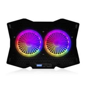 """Modecom MC-CF18 RGB chladící podložka pro notebooky do velikosti 18"""", 2 ventilátory, RGB LED podsvícení, černá"""