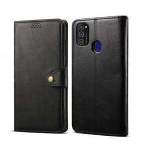Lenuo Leather flipové pouzdro pro Samsung Galaxy M21, černá