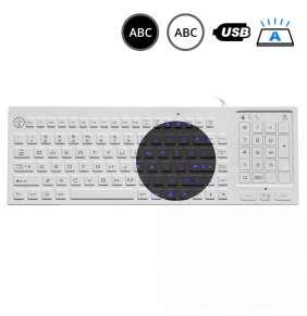 SK318BL – Silikonová antibakteriální klávesnice s touchpadem podsvícená, CZ, USB, IP68
