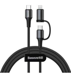 Baseus twins 2 in 1 cable Type-C to Type-C 60W (20V/3A) + Ligthning (5V/2A) 1M Black