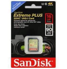 SanDisk SDHC karta 16GB Extreme Plus (90MB/s Class 10, UHS-I)