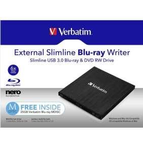 VERBATIM externí mechanika Slimline Blu-ray Rewriter USB 3.0 Zdarma BR Disc 25GB (CD DVD BD Mdisc)