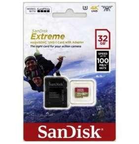 SanDisk MicroSDHC karta 32GB Extreme (100MB/s, Class 10 UHS-I V30, pro akční kamery) + adaptér