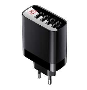 Nabíječka do sítě Baseus Mirror Lake Digital Display 4xUSB Travel Charger 30W - černá