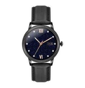 Deveroux - Fitness hodinky CF18PRO kožený řemínek, černý