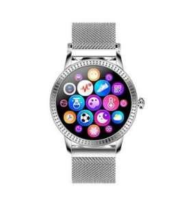 Deveroux - Fitness hodinky CF18PRO kožený řemínek, stříbrný