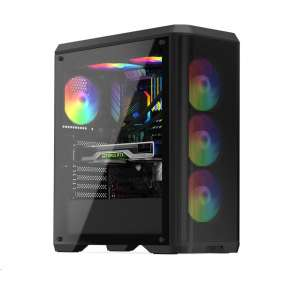 SilentiumPC skříň MidT Ventum VT4V Evo TG ARGB / ATX / 4x120mm fan ARGB / 2xUSB 3.0 / tvrzené sklo / černá