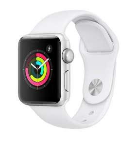 AppleWatch Series 3 GPS, 38mm Silver Aluminium Case with White Sport Band