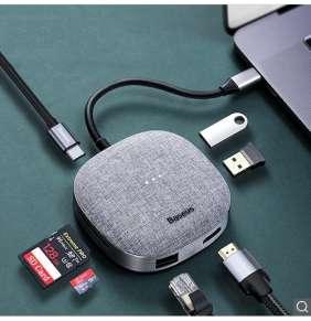 Baseus Fabric series 7v1 multifunkční HUB s USB-C připojením, šedá