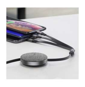 Baseus Fabric 3-in-1 Flexible Cable USB For M+L+T 3.5A 1.2m Dark Gray