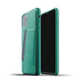 Mujjo kryt Full Leather Wallet Case pre iPhone 11 Pro Max - Alpine Green