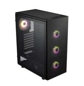 FSP/Fortron ATX Midi Tower CMT340 PLUS Black, průhledná bočnice, 4 x A. RGB LED 120 mm ventilátor