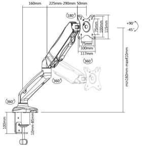 TB držák plynový na monitor TB-MG1 27 inch 8kg