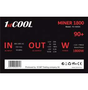 Zdroj 1800W 1stCOOL - MINER 1800  90+, 2x 8cm ventilátor
