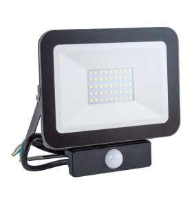 IMMAX LED reflektor Slim/ 30W/ 2700lm/ IP65/ 4000 - 4500K přírodní bílá/ PIR/ černý