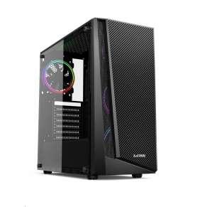 1stCOOL skříň RAINBOW 3 EVO ARGB 2x Fan, middle tower, AU, USB3.0, bez zdroje, průhledná bočnice, černá