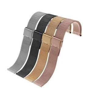 Deveroux - Ocelový milánský řemínek WD003, easy click - Růžově zlatý - 22 mm
