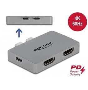 Delock Duální adaptér HDMI s rozlišením 4K 60 Hz a PD 3.0 pro MacBook