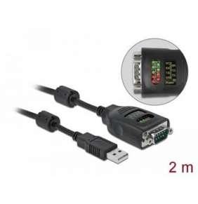 Delock Adaptér USB Typu-A na sériové rozhraní DB9 s devíti LED se zkoušečkou rozhraní RS-232