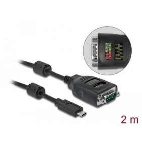 Delock Adaptér USB Type-C™ na sériové rozhraní DB9 s devíti LED se zkoušečkou rozhraní RS-232