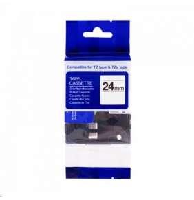 PRINTLINE kompatibilní páska s Brother HSe-251, 24mm x 1,5m, černý tisk / bílý podklad, bužírka