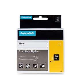 PRINTLINE kompatibilní páska s DYMO 18490, 12mm x 3,5m, černý tisk / žlutý podklad, RHINO, nylonová, flexibilní