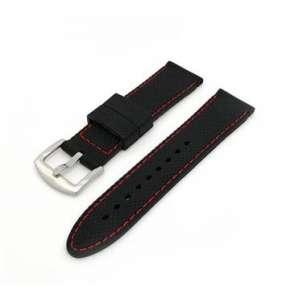 Deveroux - Silikonový řemínek JD006 - Černý s červeným prošíváním - 20 mm
