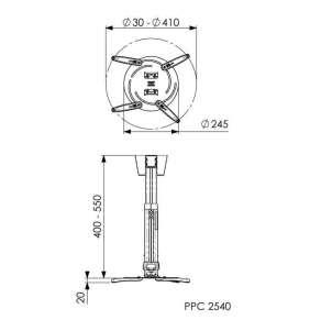 Držák telesk. na větší projektor Vogel's PPC 2540, 40-55 cm, stříbrný