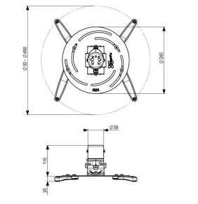 Držák univ. na projektor Vogel's PPC 2500, do 30 Kg, stříbrný