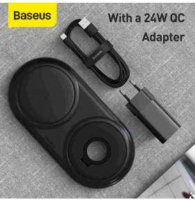Baseus Planet 2v1 bezdrátová nabíječka černá + USB adaptér a kabel Type-C 1m