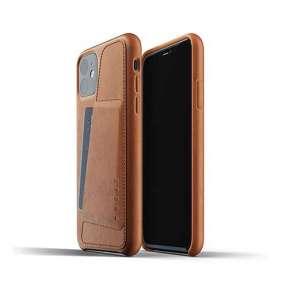 Mujjo kryt Full Leather Wallet Case pre iPhone 11 - Tan