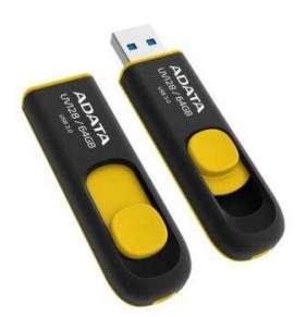 ADATA Flash Disk 64GB UV128, USB 3.1 Dash Drive (R:90/W:40 MB/s) černá/žlutá