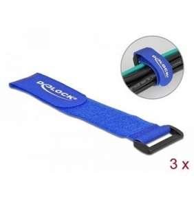Delock Kabelový úvazek na suchý zip, se smyčkou, D 280 x Š 38 mm, modrý, 3 ks