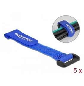 Delock Kabelový úvazek na suchý zip, se smyčkou, D 150 x Š 20 mm, modrý, 5 ks