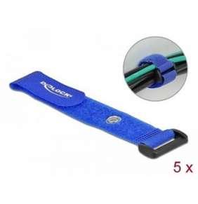 Delock Kabelový úvazek na suchý zip se smyčkou a upínacím očkem, D 190 x Š 25 mm, modrý, 5 ks